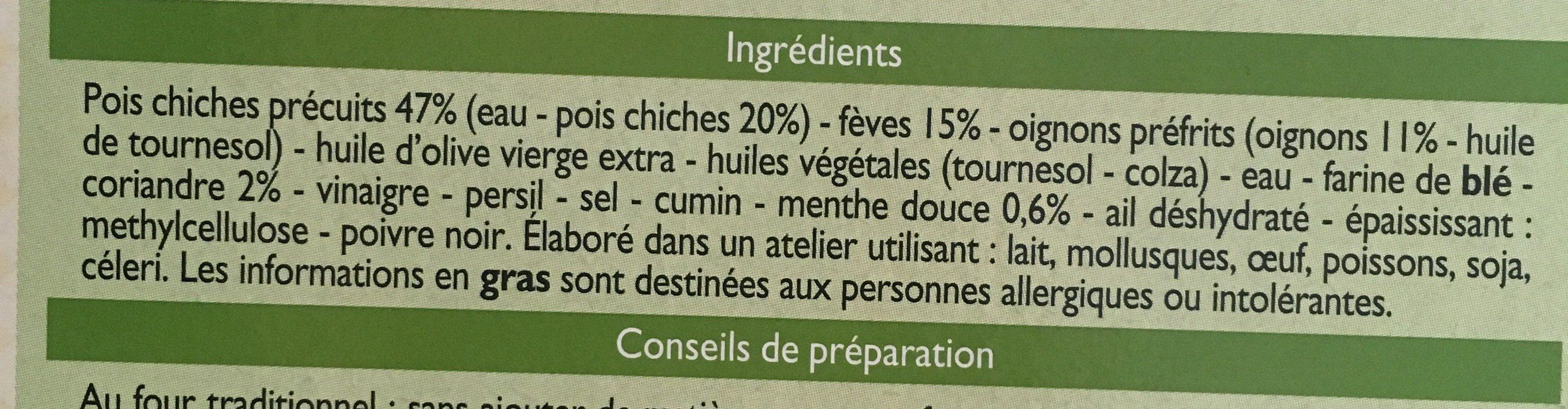 Falafels pois chiches fèves et coriandre - Ingrediënten