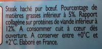 Steak Haché Pur bœuf 5% mat. gr. - Ingredients