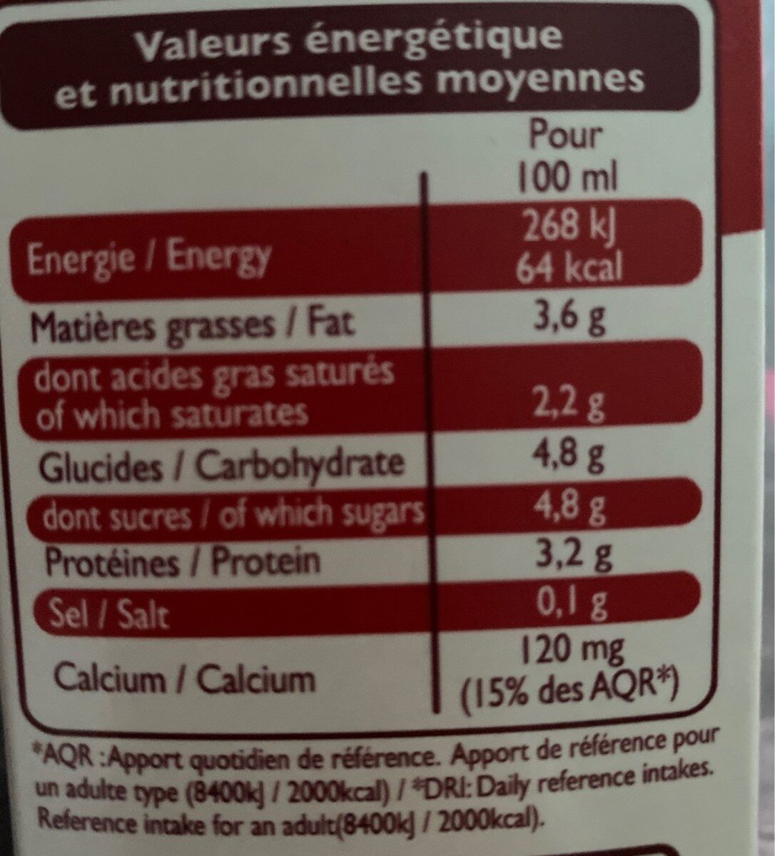 Lait entier stérilisé U.H.T - Informations nutritionnelles - fr