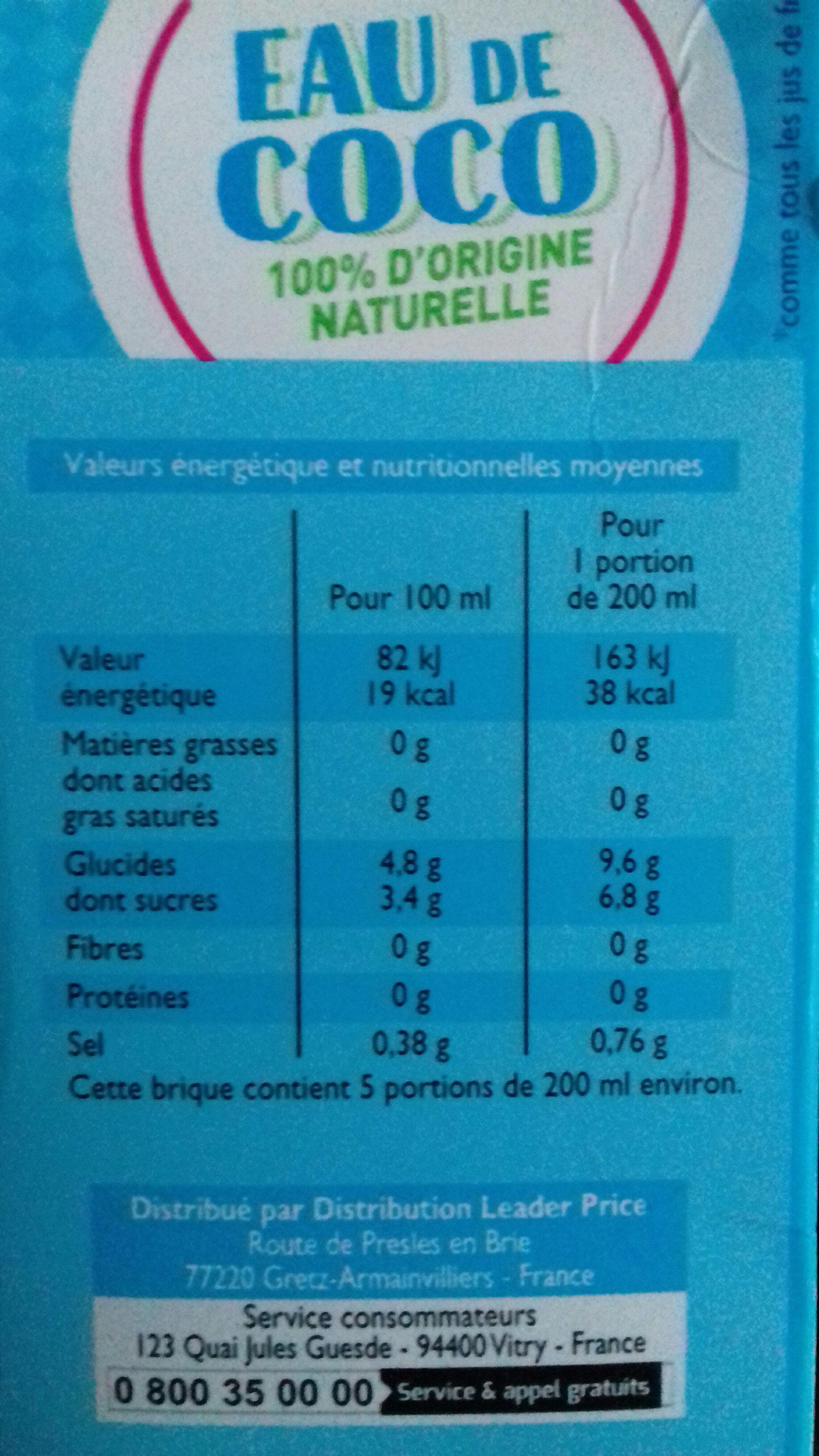 Eau de coco 100% d'origine naturelle - Valori nutrizionali - fr