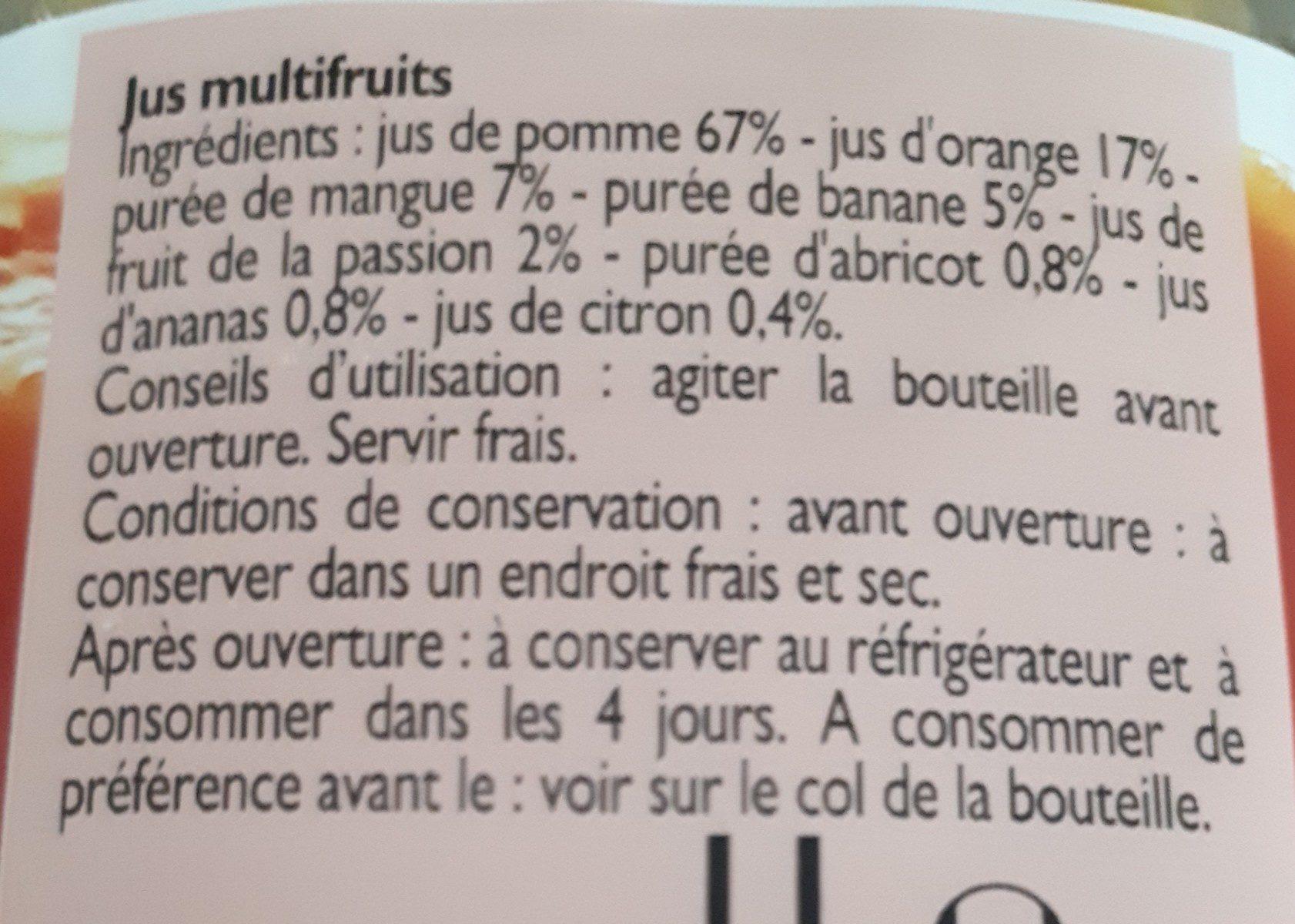 Pur jus multifruits - Ingrédients