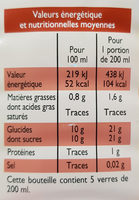 Pur jus multifruits - Informations nutritionnelles