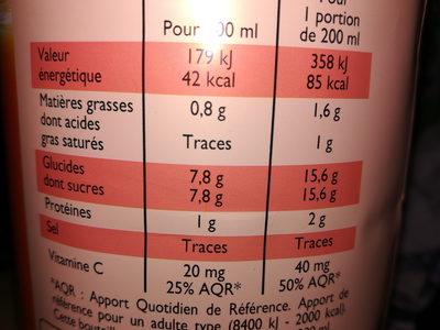 Pur jus d'orange sans pulpe - Información nutricional