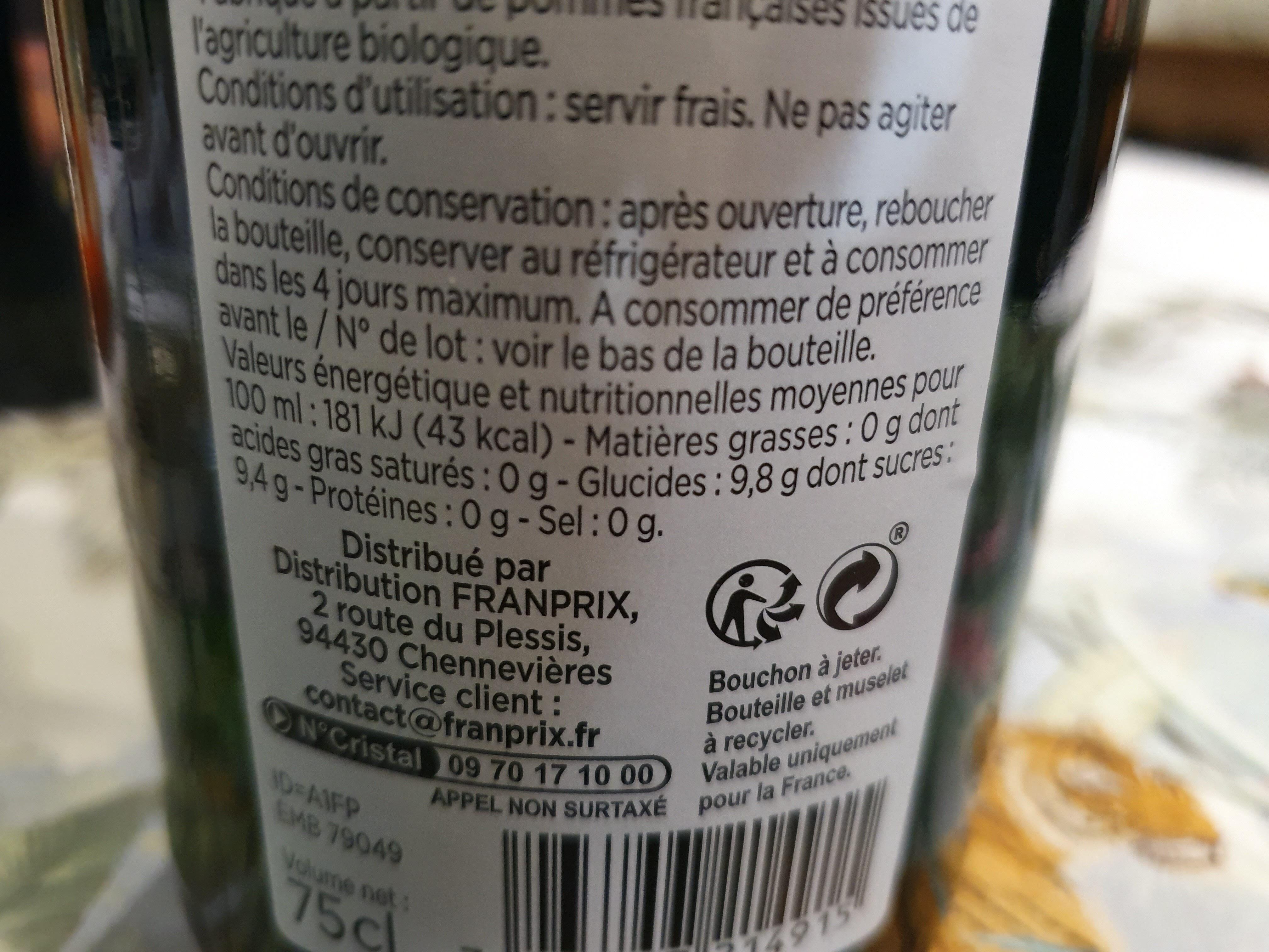 Jus de pomme pétillant - Informations nutritionnelles - fr