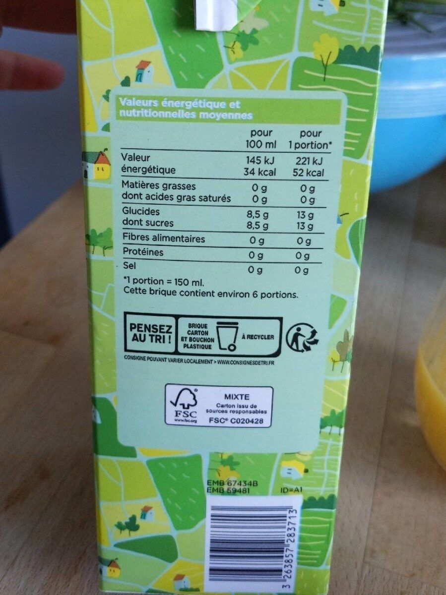100% pur jus Bio orange avec pulpe - Valori nutrizionali - fr
