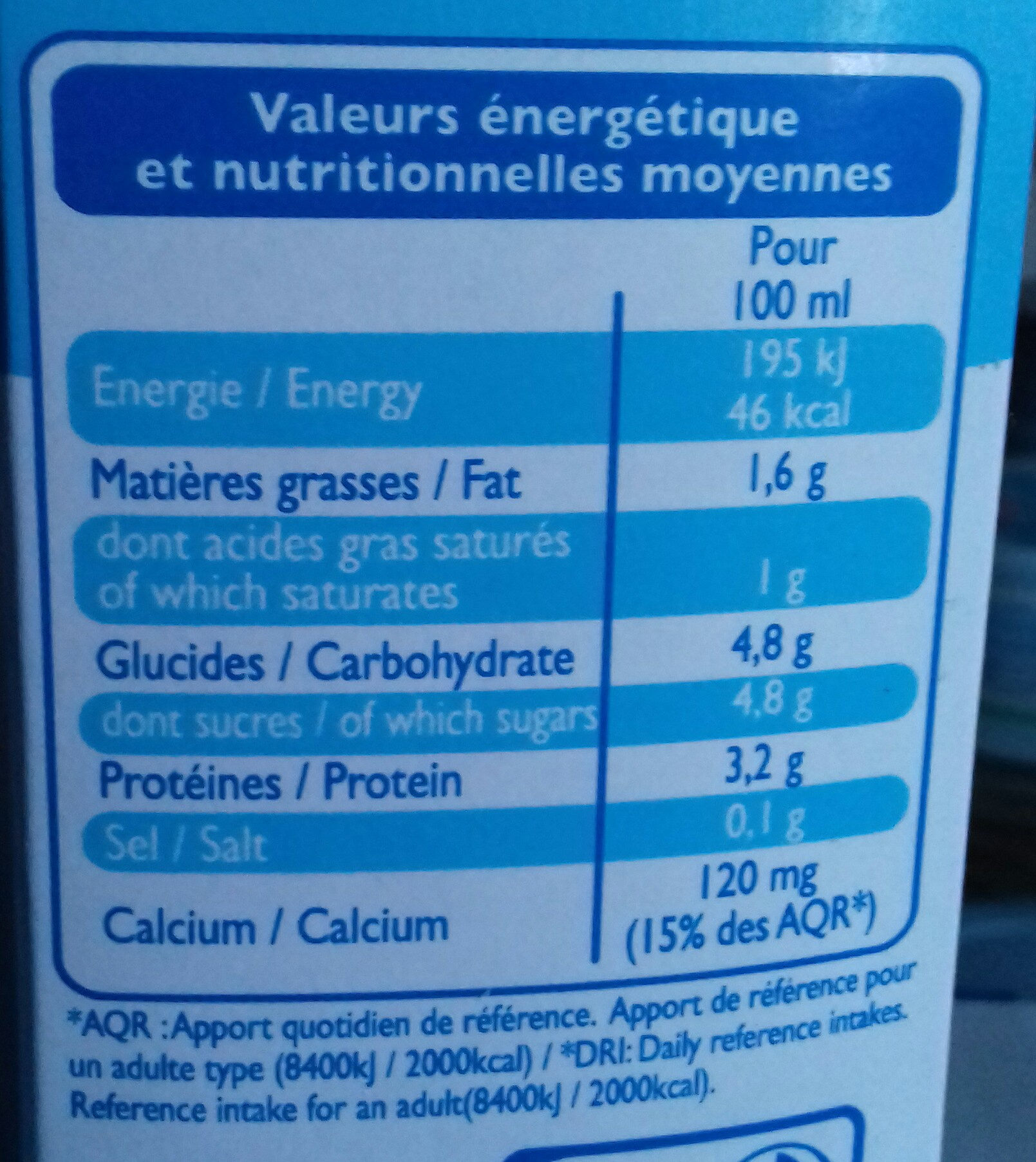 Lait demi écrémé 1L - Informations nutritionnelles - fr
