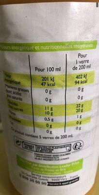 100% pur jus d'orange - Nutrition facts - fr