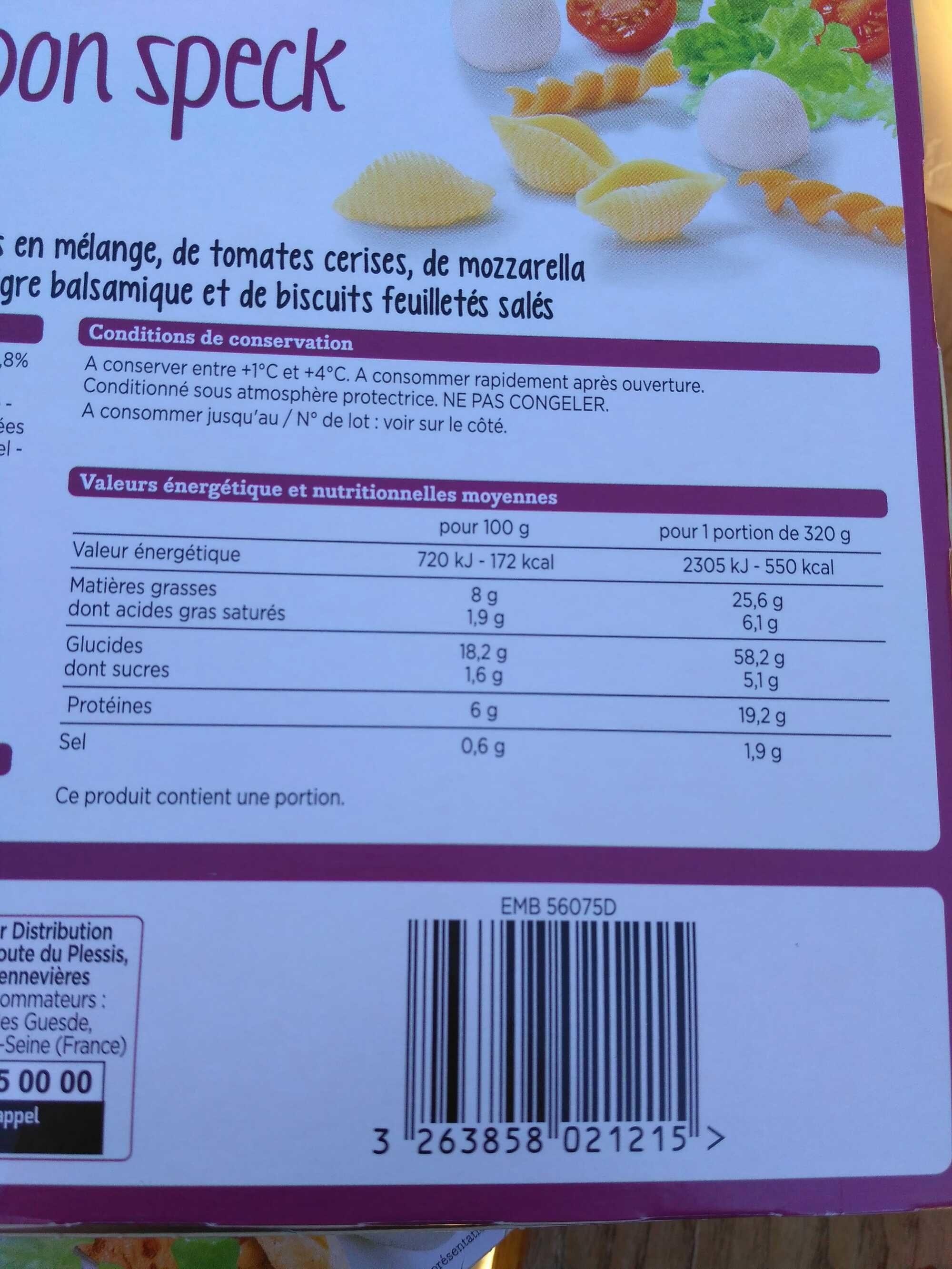 Salade mozzarella, jambon speck - Produit - fr