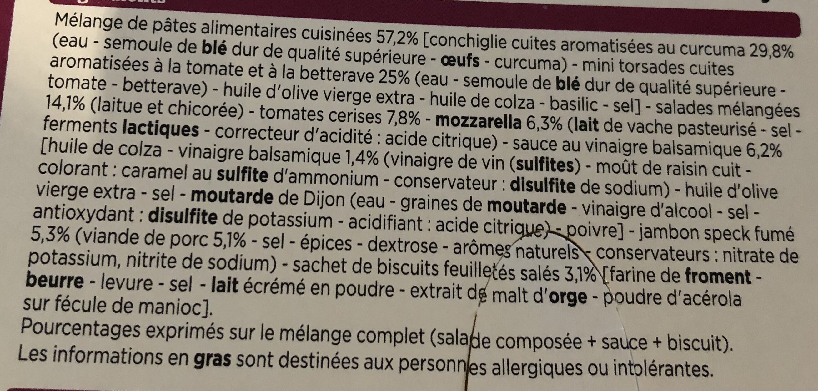 Salade mozzarella, jambon speck - Ingrédients - fr