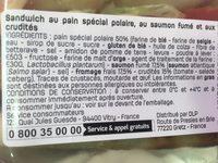 Sandwich Saumon Fumé Fromage Frais - Ingrédients