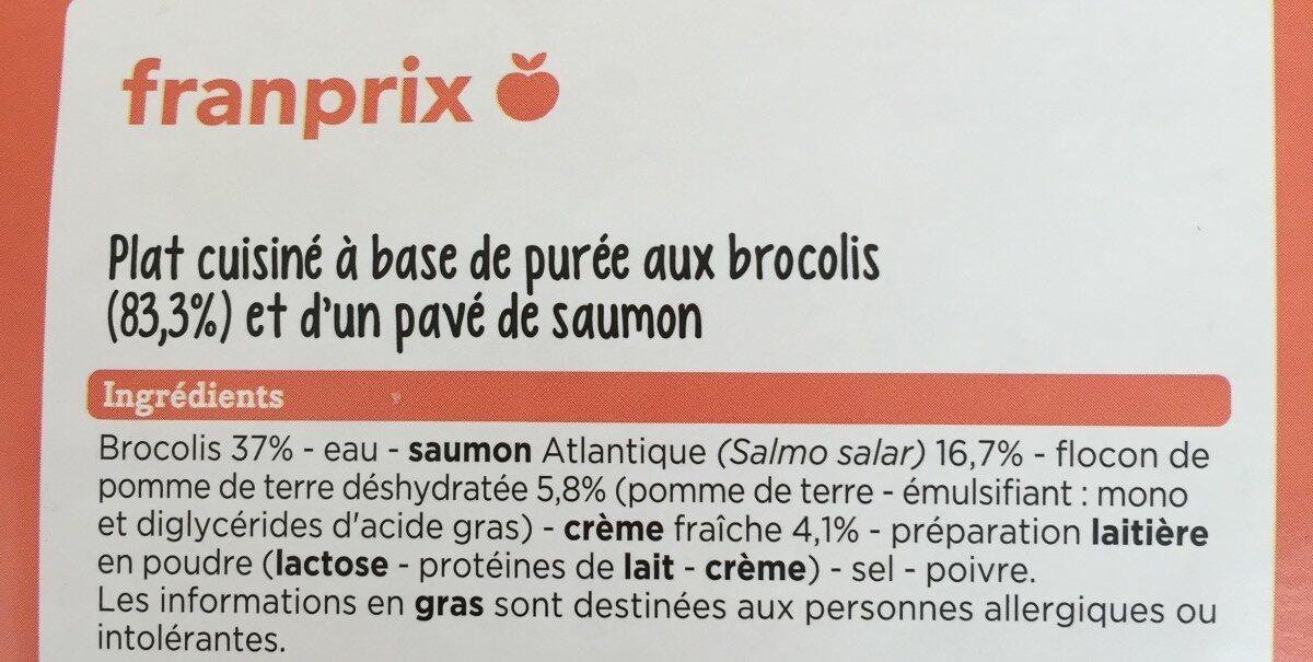 Pavé de Saumon Purée de brocolis - Ingrédients