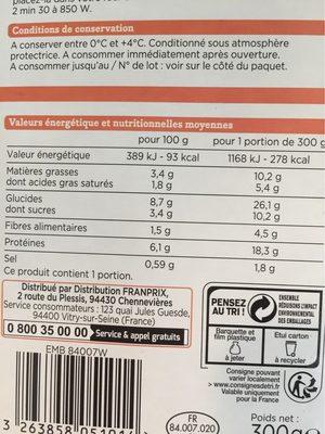 Pavé de Saumon Purée de brocolis - Informations nutritionnelles