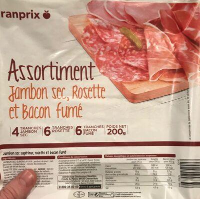 Assortiment jambon sec, rosette et bacon fumé - Produit - fr