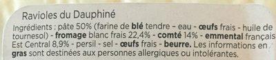Ravioles Du Dauphiné - Ingrédients - fr