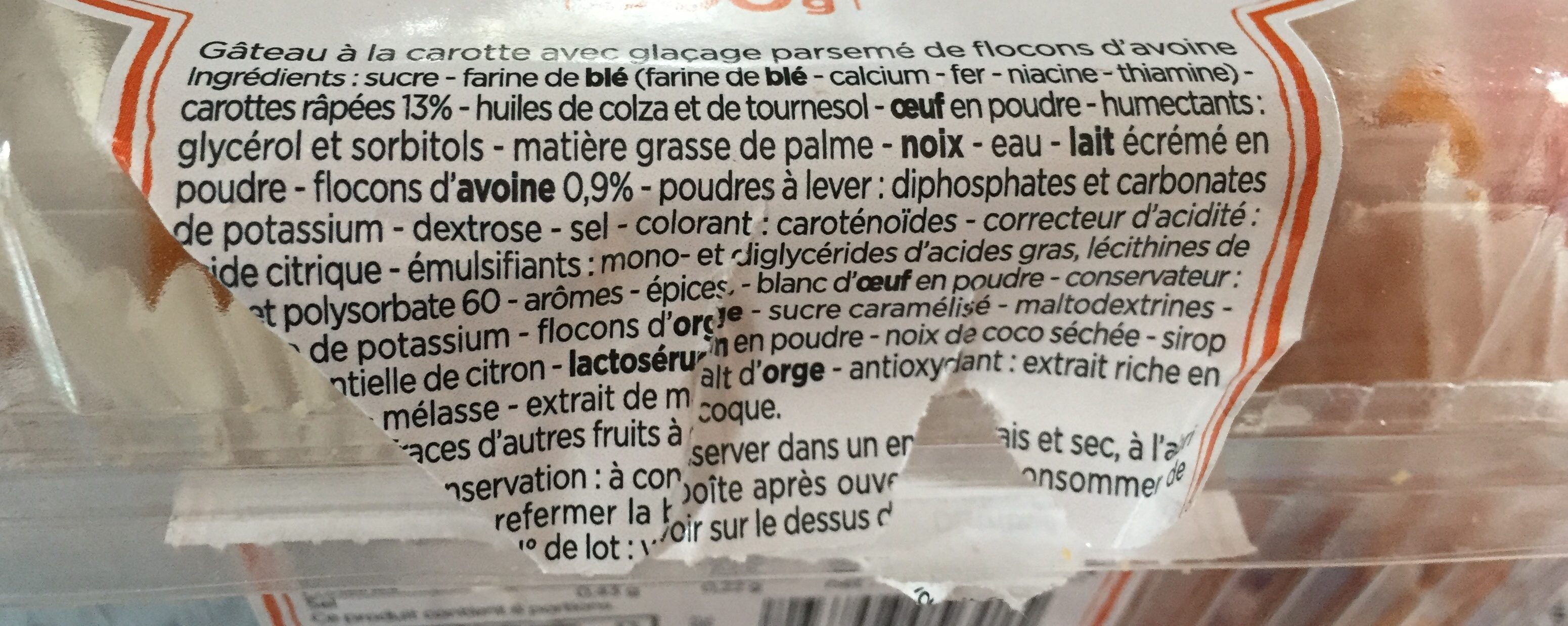 Carrot Cake - Ingrédients - fr