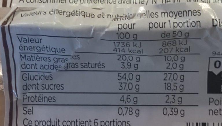 Chocolate fudge cake à partager - Informations nutritionnelles - fr