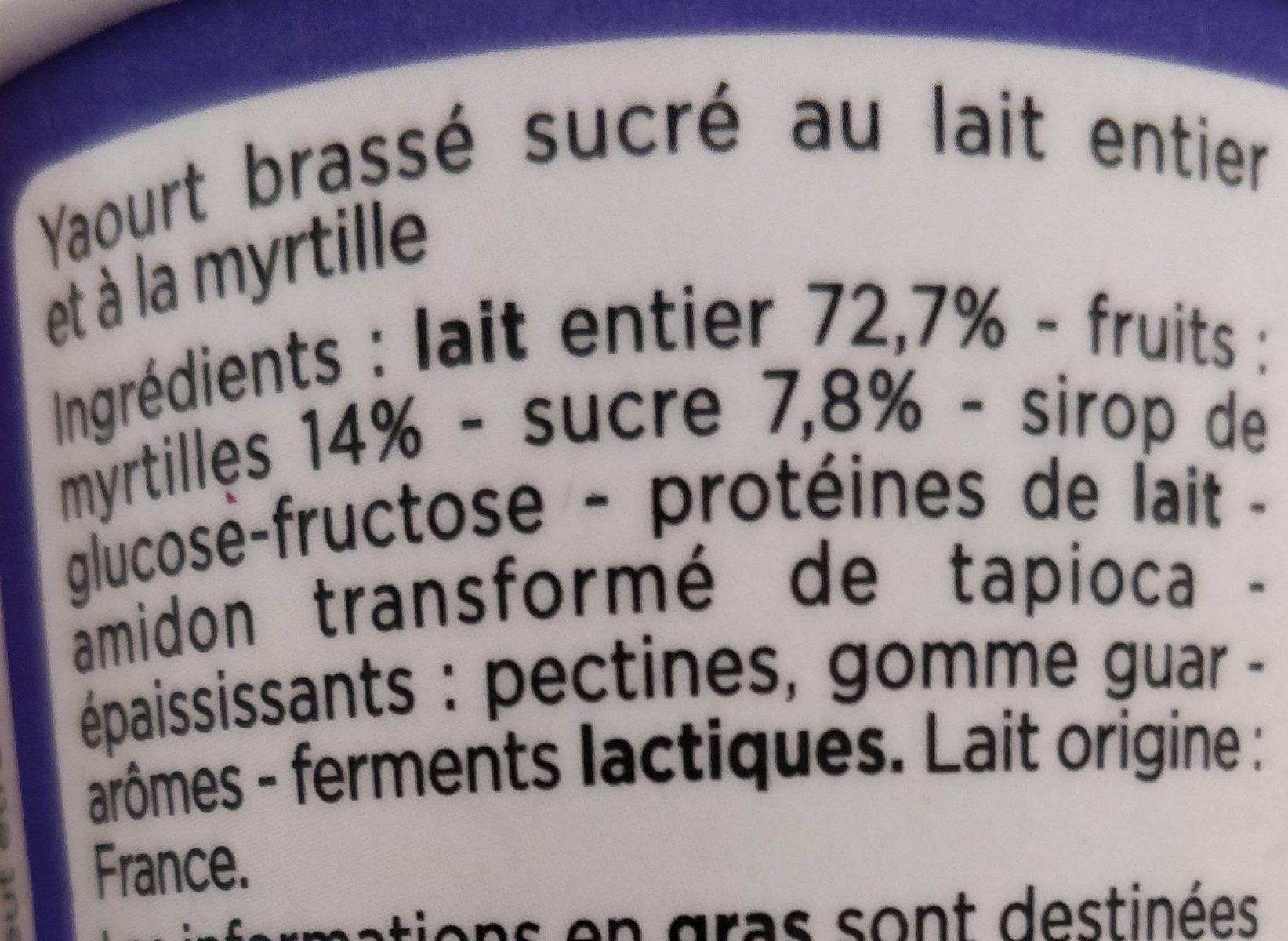 yaourt gourmand à la myrtille - Ingrédients - fr