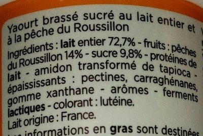 Yaourts pêches - Ingredients