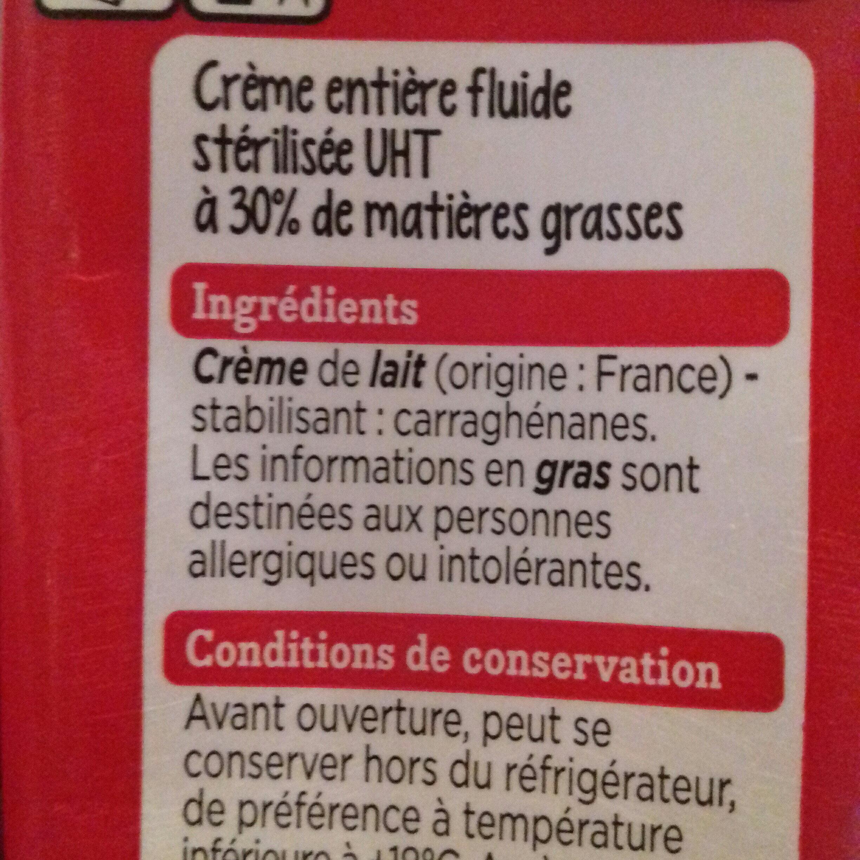 Creme entiere fluide - Ingrédients - fr