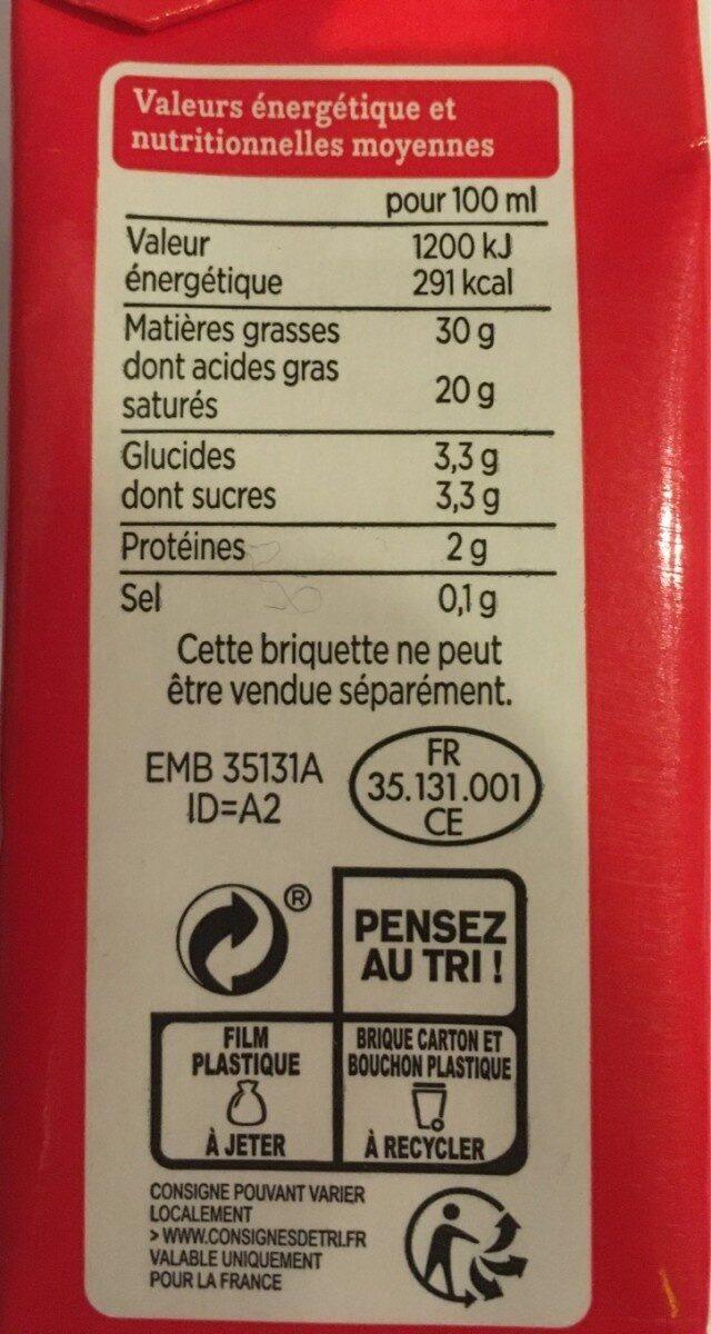 Creme entiere fluide - Informations nutritionnelles - fr
