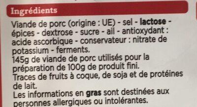 Tranches de saucisson sec - Ingredienti - fr