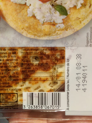 Blinis - Nutrition facts