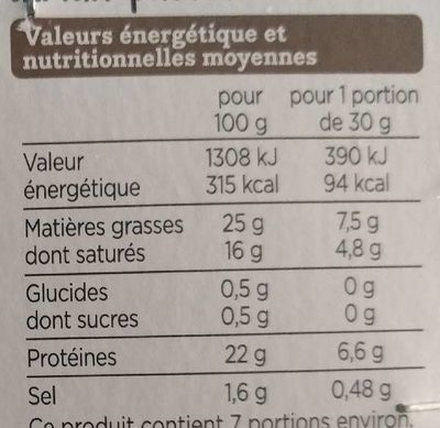 Pont-l'Évêque - Nutrition facts