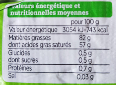 Beurre bio - Informations nutritionnelles