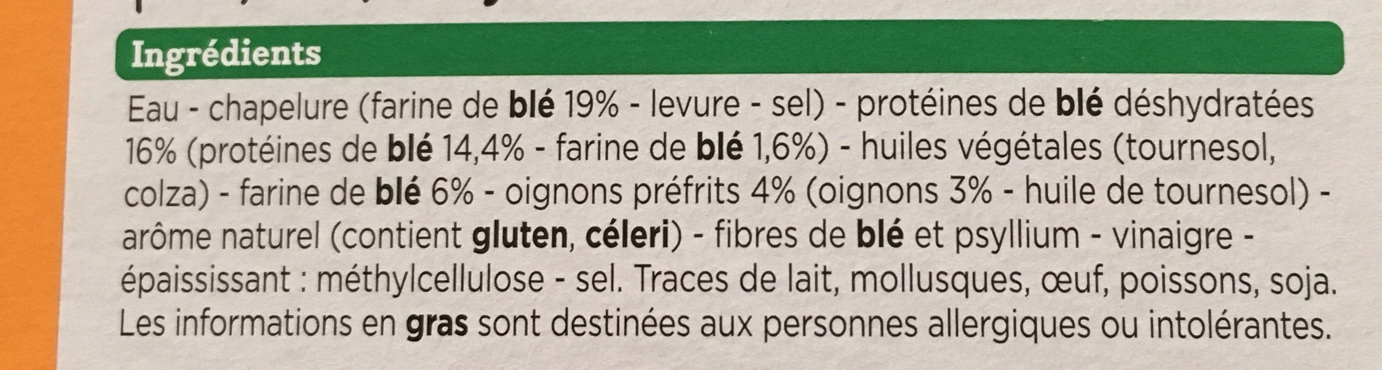 nuggets veggie blé oignon - Ingredienti - fr