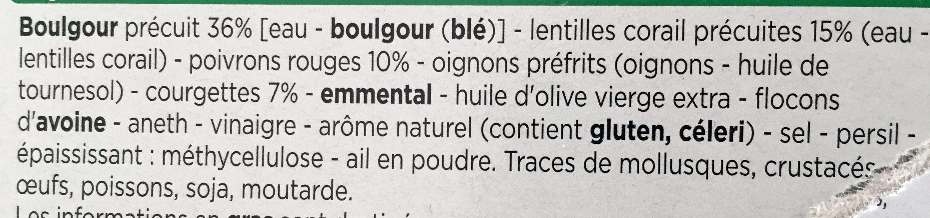 Galettes Boulgour et Lentilles Corail - Ingrediënten - fr