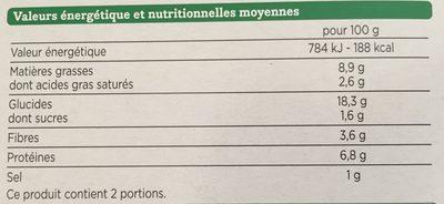 Galettes Boulgour et Lentilles Corail - Voedingswaarden - fr