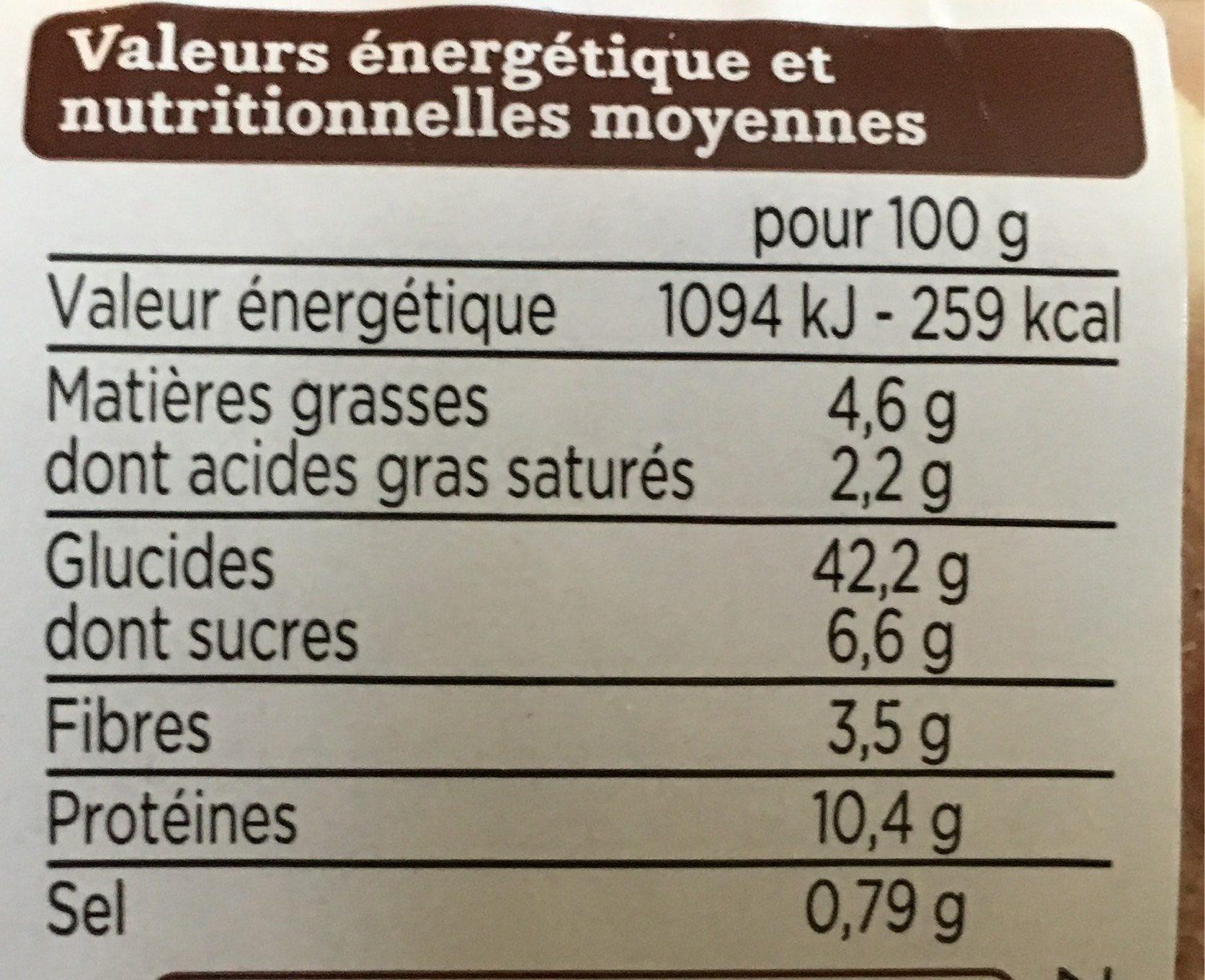Muffins pépites chocolat - Informations nutritionnelles - fr