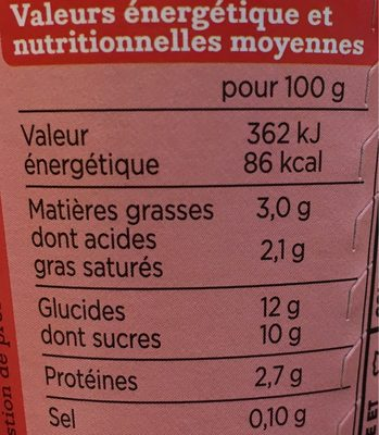 Yaourt a boire - Nutrition facts