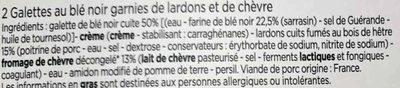 2 Galettes au blé noir garnies de lardons et de chèvre - Ingrédients - fr