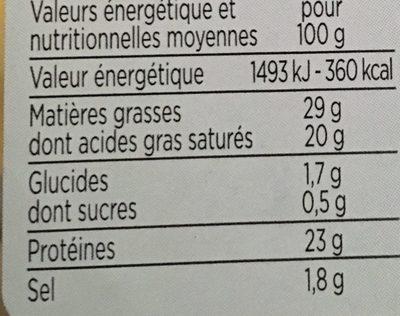 des gouda - Informations nutritionnelles - fr