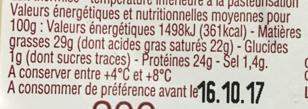 Tomme de Savoie - Nutrition facts - fr