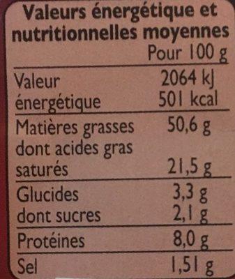 Foie gras de canard entier cuit au torchon - Voedingswaarden