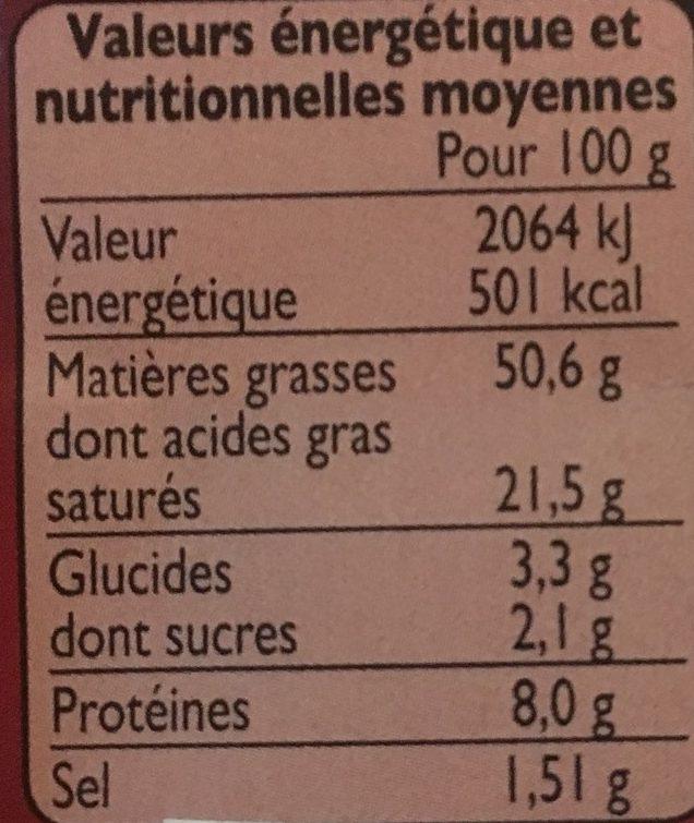 Foie gras de canard entier cuit au torchon - Voedingswaarden - fr