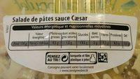 Salade de pâtes sauce Caesar - Informations nutritionnelles