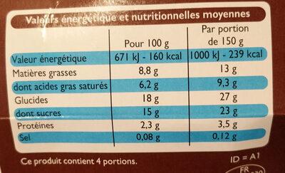 Yaourt a la grecque - Voedingswaarden - fr