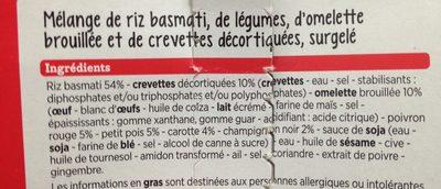 Riz Cantonais Crevettes et Petits Légumes à la Chinoise - Ingredients - fr