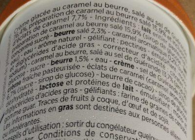 Crème Glacée Caramel, Sauce Caramel Beurre Salé et Éclats de Caramel - Ingredients