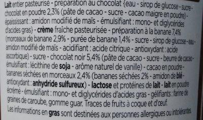 Crème Glacée Chocolat Noir, Sauce Chocolat et Morceaux de Banane - Ingrédients