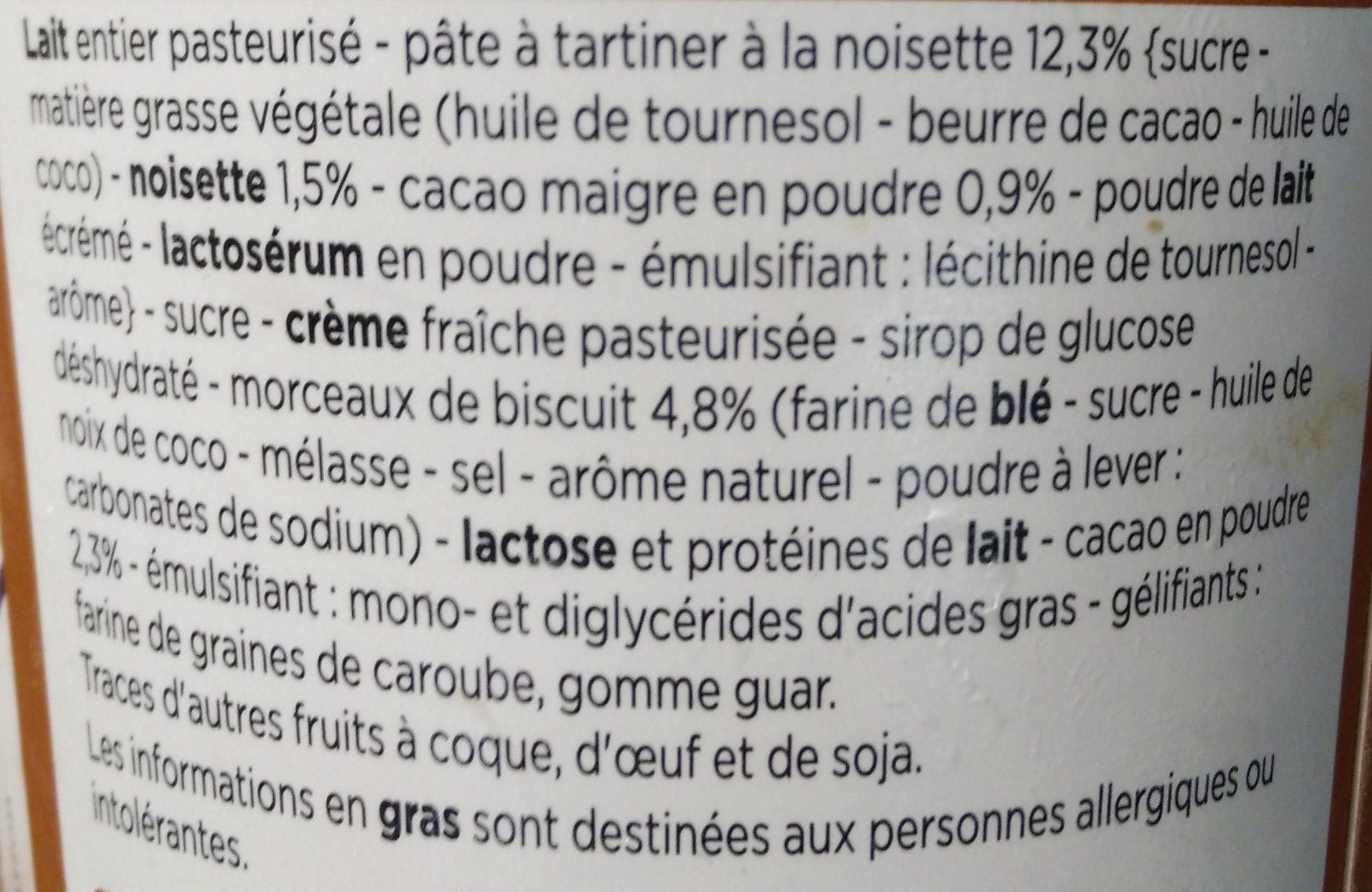 Crème Glacée à la Pâte à Tartiner avec Morceaux de Biscuit - Ingredients - fr