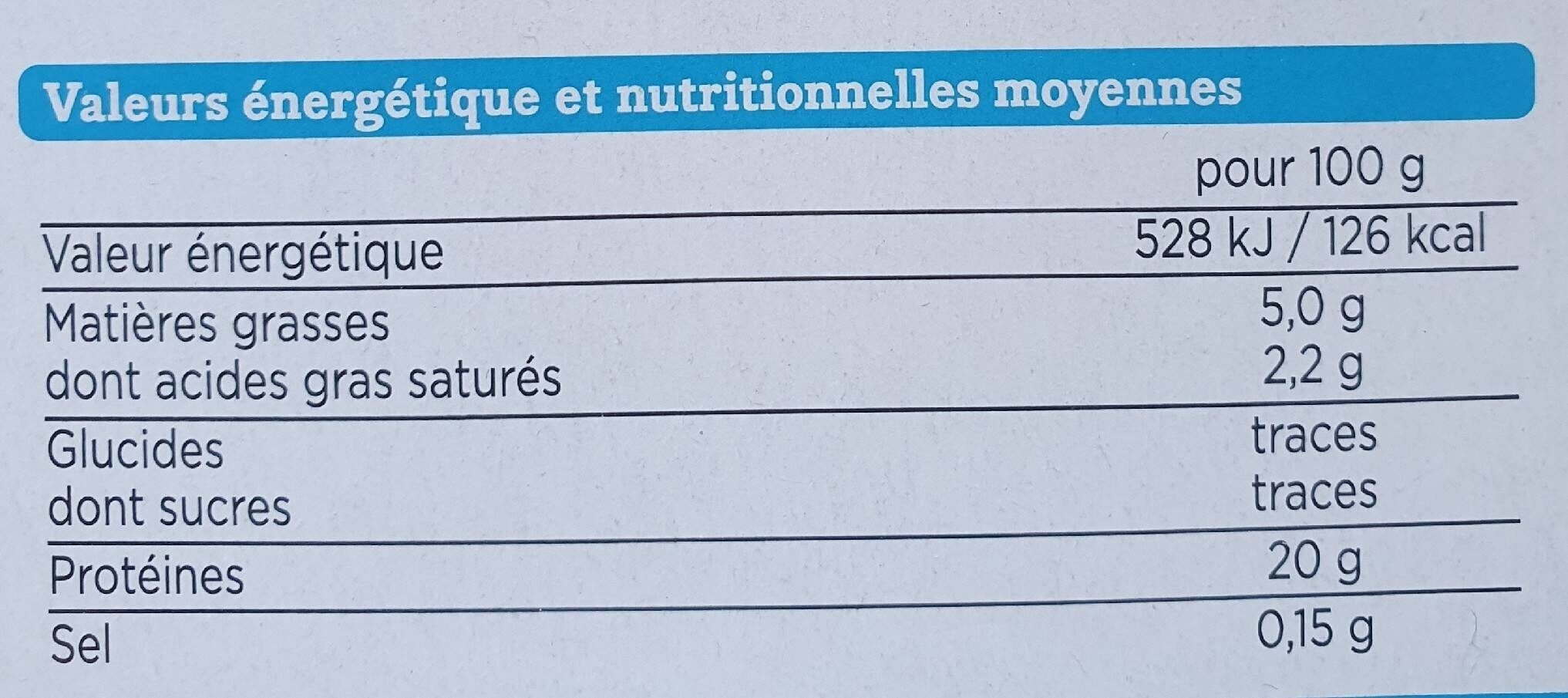 Steaks haché pur boeuf - Informations nutritionnelles - fr