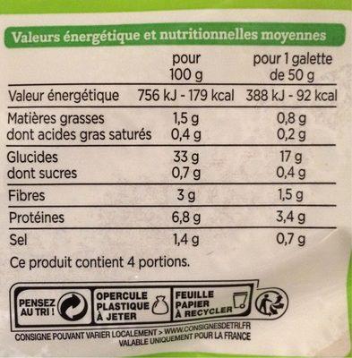 Galette de blé noir - Informations nutritionnelles - fr
