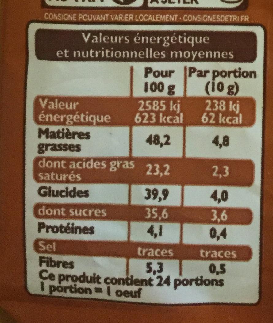 Oeufs pralinés noir - Nutrition facts - fr