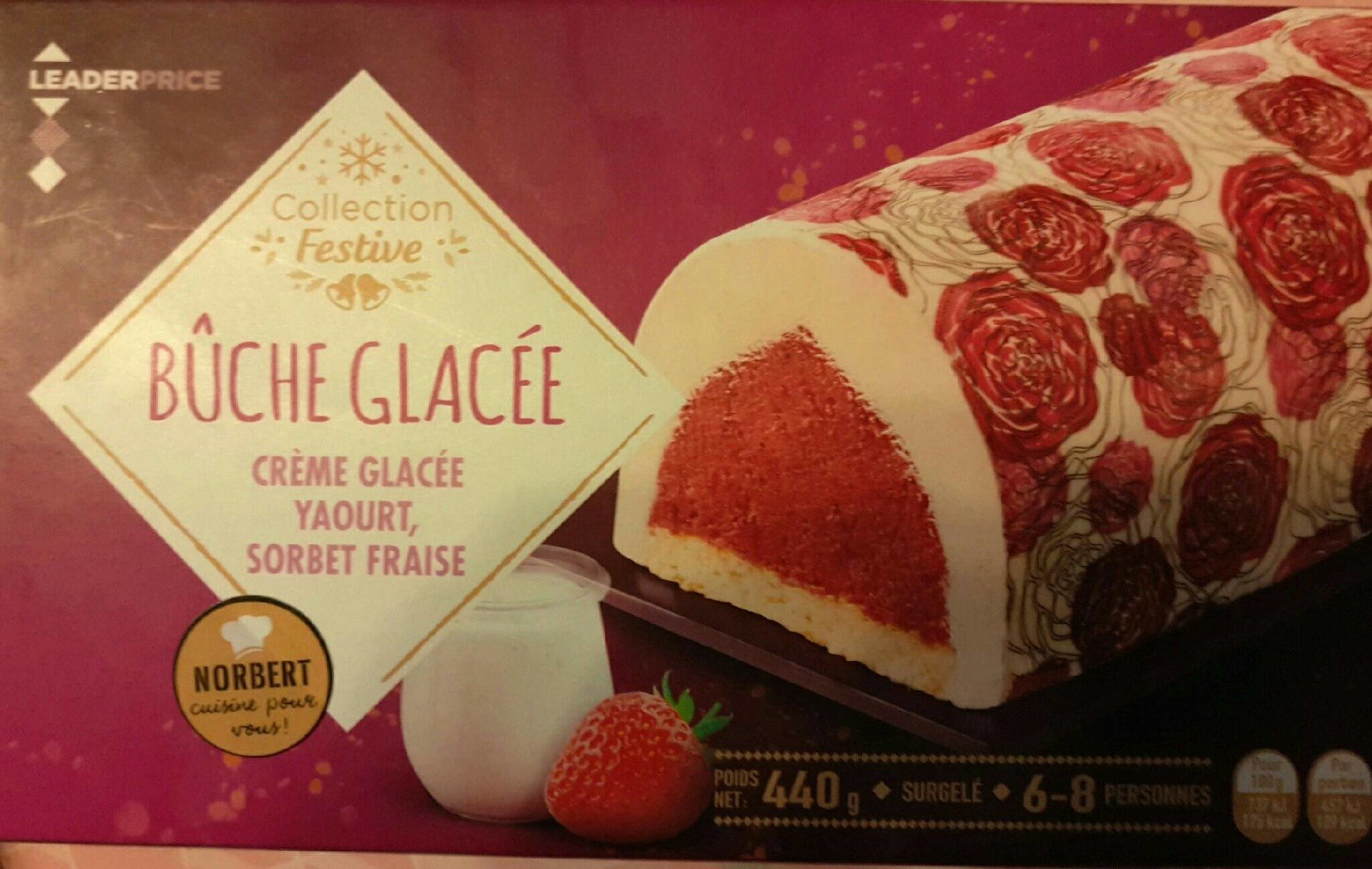 Bûche glacée, yaourt et sorbet fraise - Produit - fr