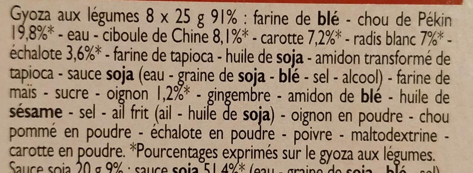 Gyoza aux légumes, sauce soja - Ingredients - fr