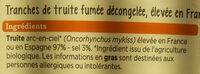 Truite Fumée Bio - Ingrédients